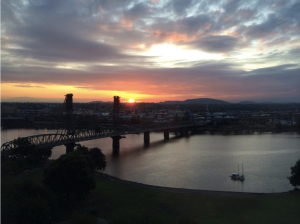 Sun rising viewed from Portland.